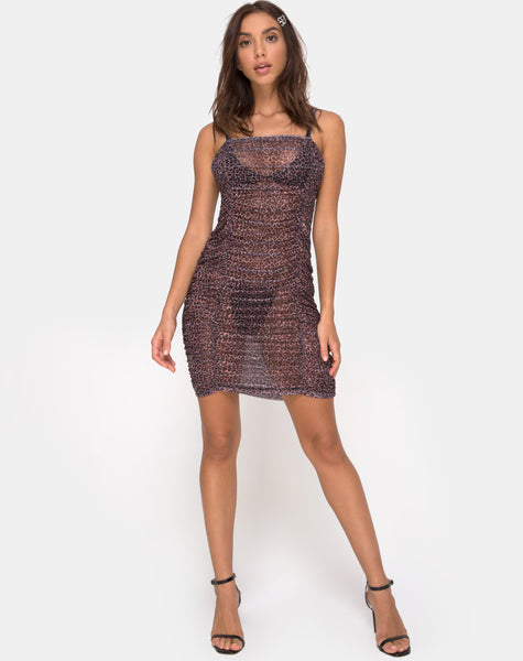 Seruchi Bodycon Dress in Rar Leopard Mesh by Motel