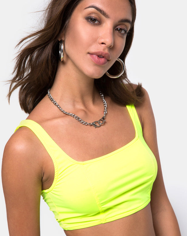 Shani Crop Top in Neon Yellow by Motel