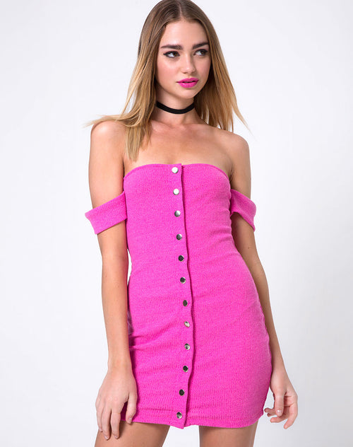 Shay Bodycon Dress in Knit Crink Hot Pink by Motel