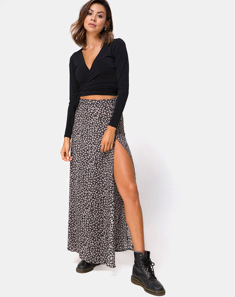 Shayk Maxi Skirt in Ditsy Rose Black by Motel