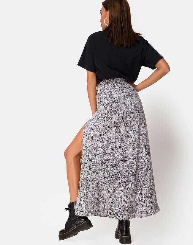 Shayk Midi Skirt in Leo Spot Black and White by Motel