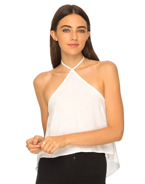 Shea Halter Swing Crop Top in White by Motel