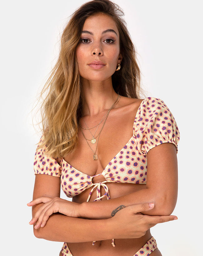 Shella Bikini Top in Ditsy Floral Yellow by Motel