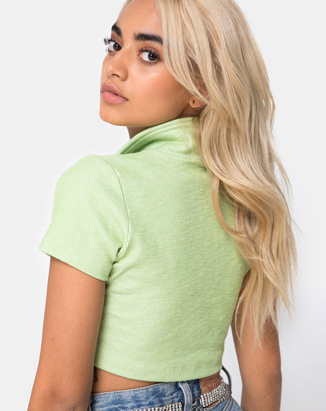 Shen Crop Top in Rib Pastel Lime by Motel