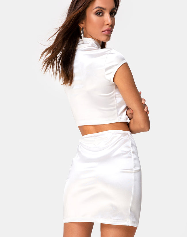 Shena Skirt in Spandex Ivory by Motel