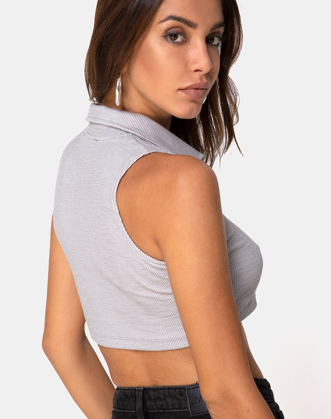 Shenia Crop Top in Rib Grey by Motel