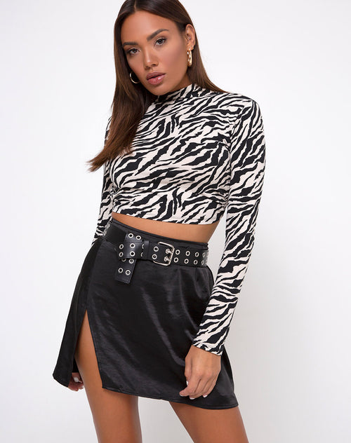 Shenka Mini Skirt in Satin Black by Motel