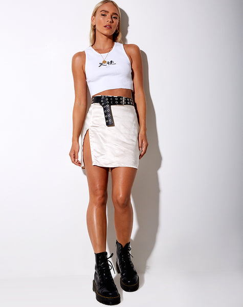 Shenka Mini Skirt in Satin Ivory