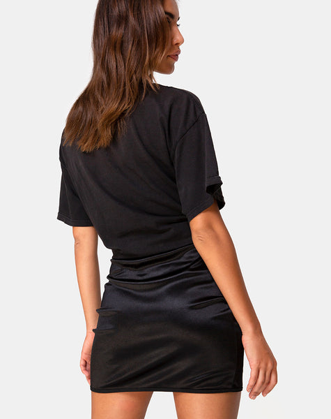 Shena Mini Skirt in Satin Black by Motel
