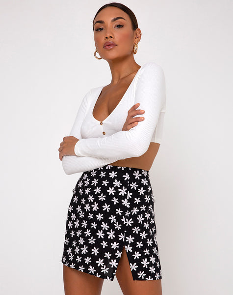 Sheny Mini Skirt in 90's Daisy Black and White by Motel
