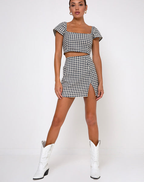 Cindy Crop Top in Gingham Cream by Motel