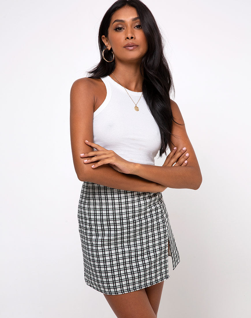 Sheny Mini Skirt in Brandy Check Foam by Motel 8