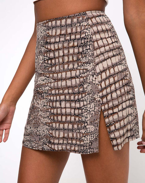 Sheny Mini Skirt in Croc Neutral Grey