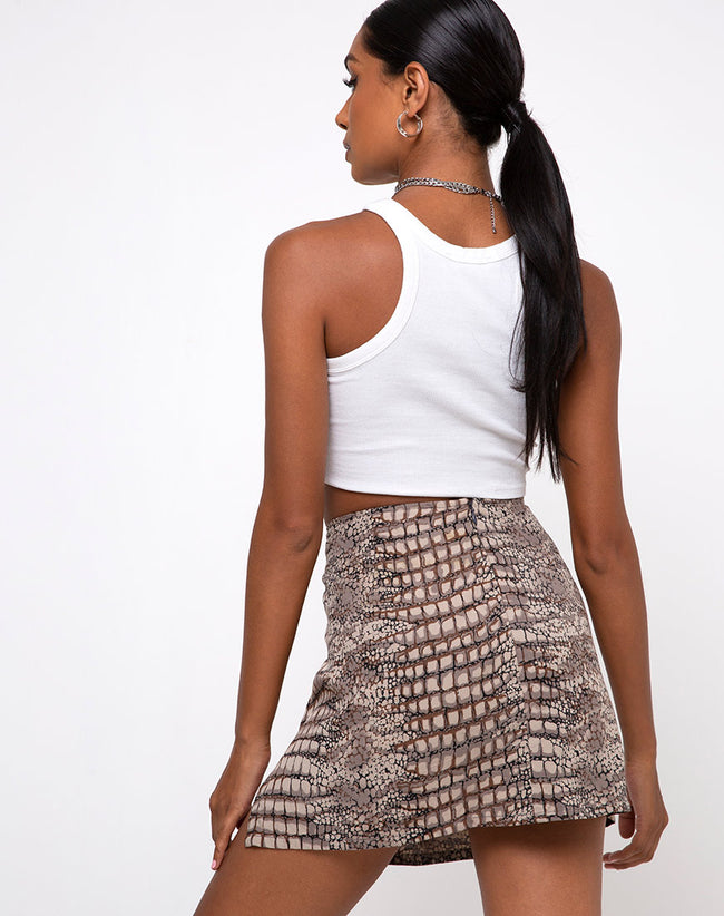 Sheny Mini Skirt in Croc Neutral Grey by Motel