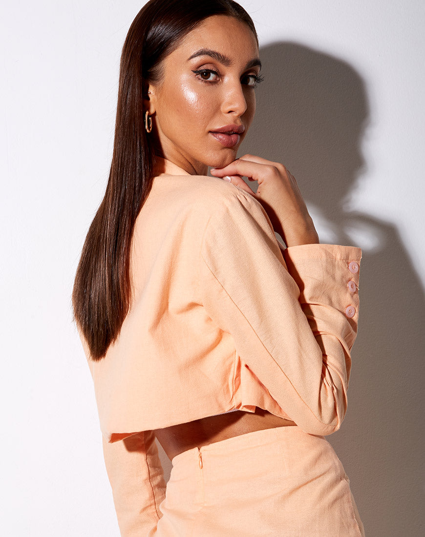 Noly Cropped Blazer in Soft Cantaloupe by Motel