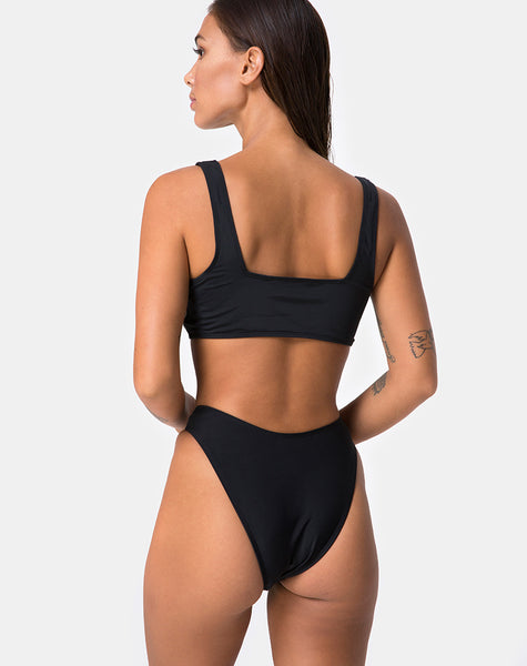 Shielle Bikini Top in Black with Contrast Piping by Motel