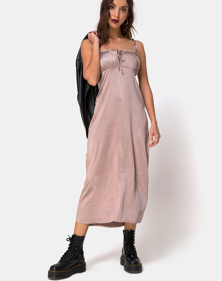 Datista Dress in Satin Taupe by Motel