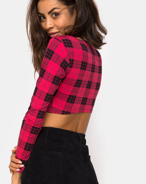 Shimla Crop Top in Winter Plaid Red / Black By Motel