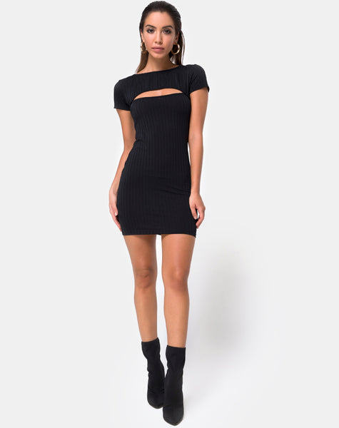 Shimmie Bodycon Dress in Black