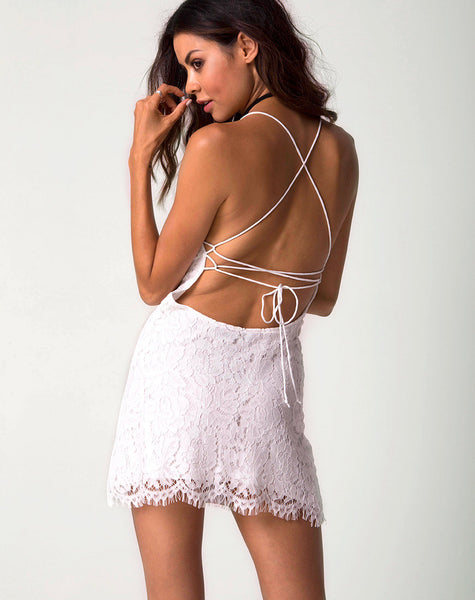 Shine Slip Dress in Angel Lace White by Motel