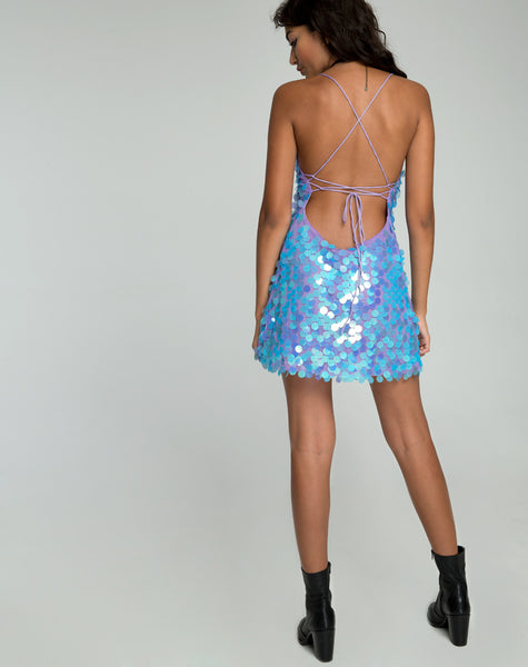Shine Dress in Mermaid Disc Sequin by Motel