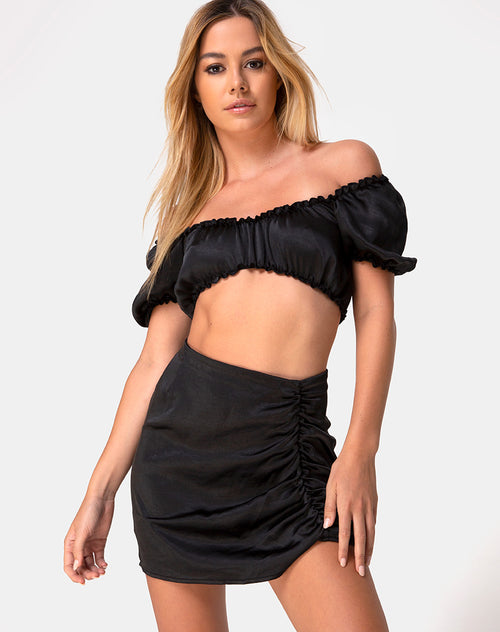 Shoti Mini Skirt in Satin Black by Motel