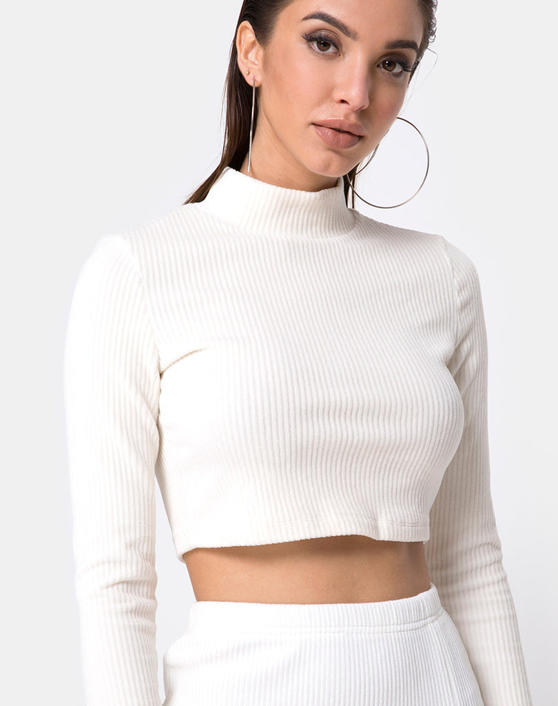 e618ca3644d Shureen Crop Top in Velvet Rib White by Motel
