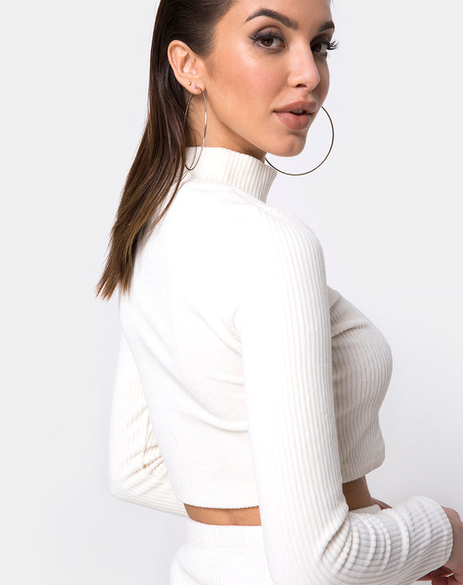 Shureen Crop Top in Velvet Rib White by Motel