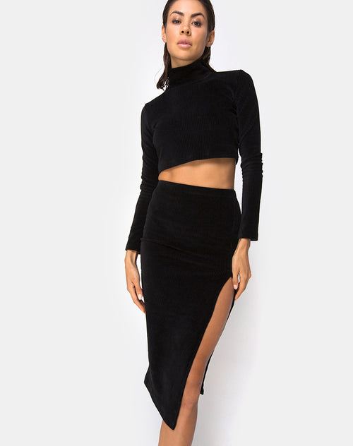 Shureen Crop Top in Rib Black by Motel