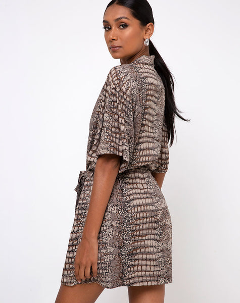 Siare Shirt Dress in Croc Neutral Grey by Motel