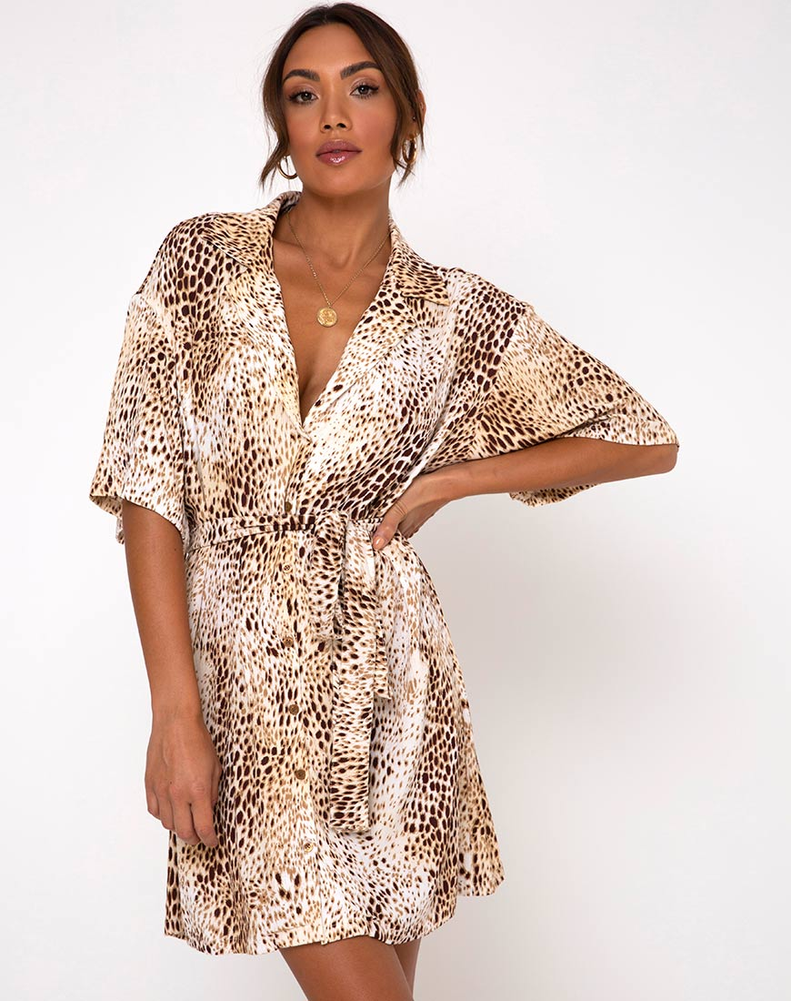 Siare Shirt Dress in Crinkle Sand Leopard