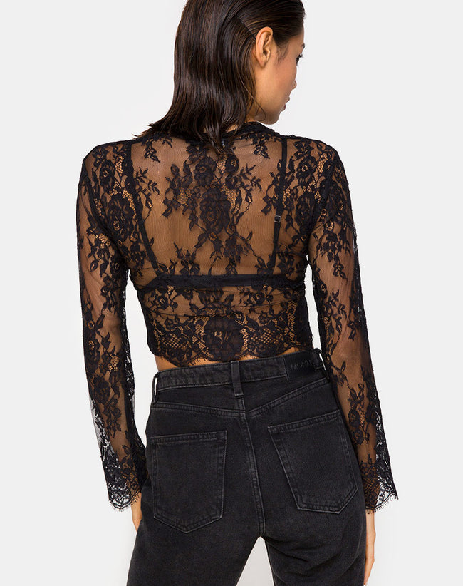 Sinhor Crop Top in Lace Black by Motel