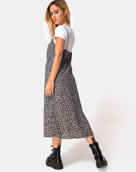Sini Slip Dress in Ditsy Rose Black by Motel