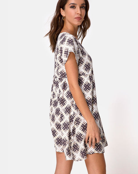 Skibbie Babydoll Dress in Kate Check by Motel