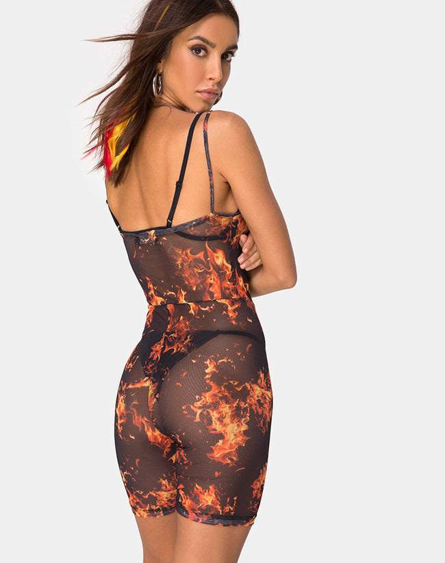 Solina Unitard in Fire Mesh by Motel