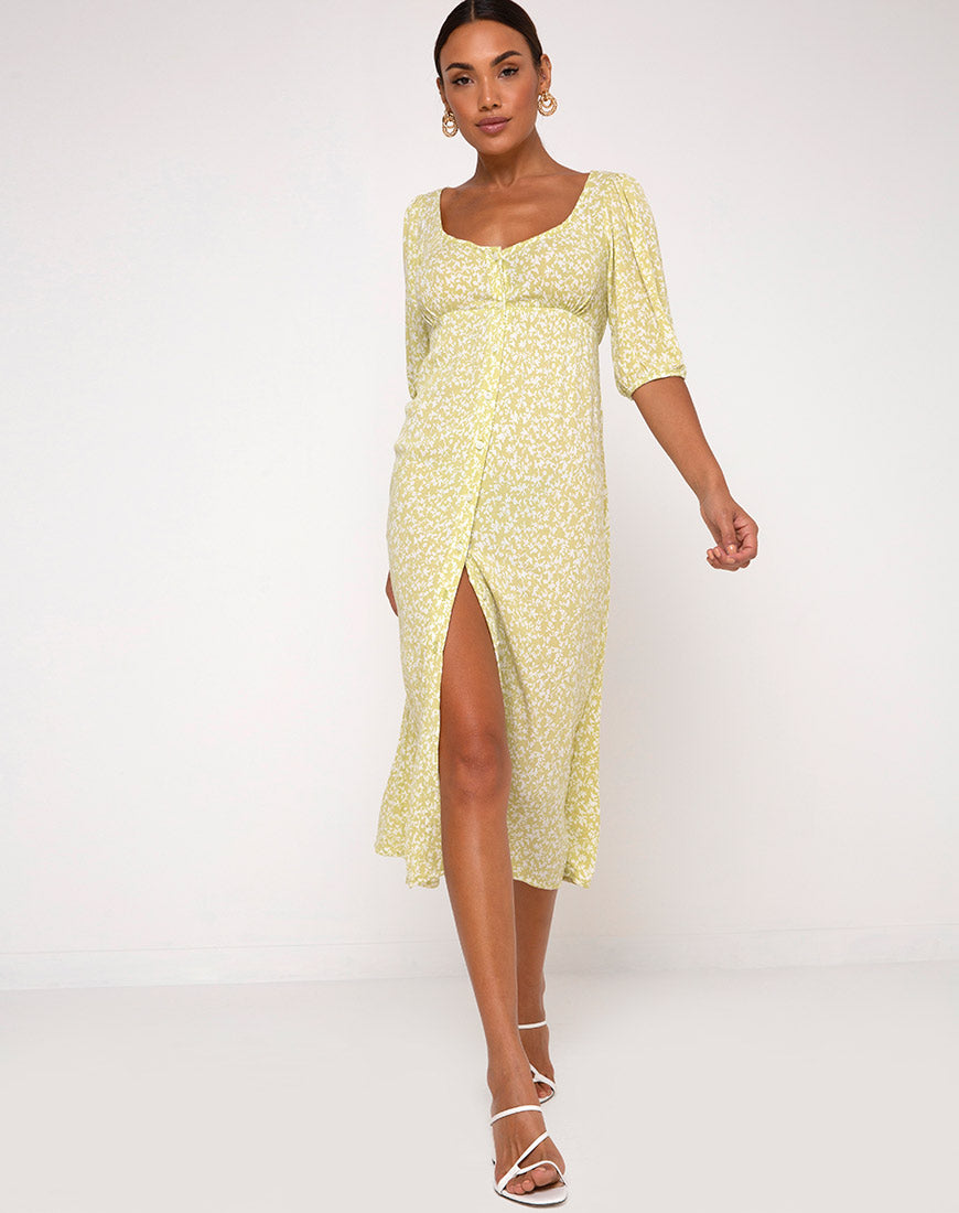 Sula Midi Dress in Crinkle Botanic Mint Foam by Motel 9