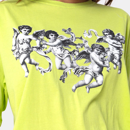 Sunny Kiss Tee in Lime with Cherub