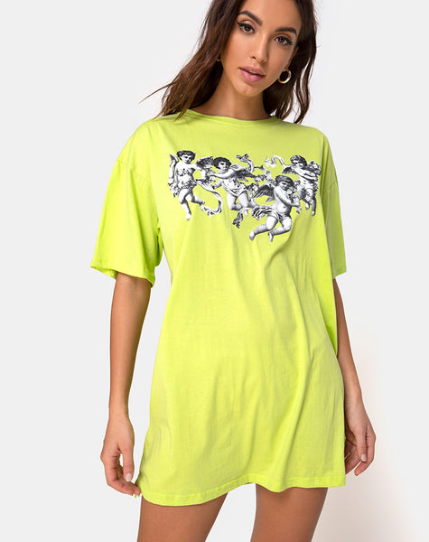 Sunny Kiss Tee in Lime with Cherub by Motel