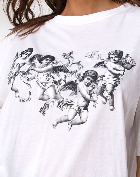 Sunny Kiss Tee in White with Cherub by Motel