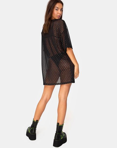 Sunny Kiss Tee in Crystal Net Black