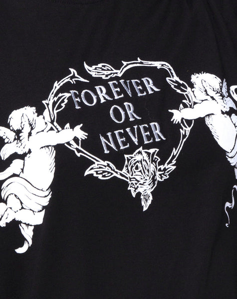 Sunny Kiss Tee in Black Forever or Never by Motel