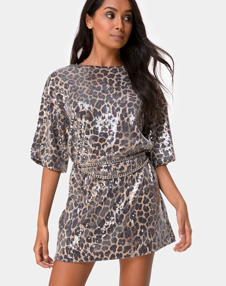 Meli Plunge Dress in Fishcale Sequin Pink by Motel