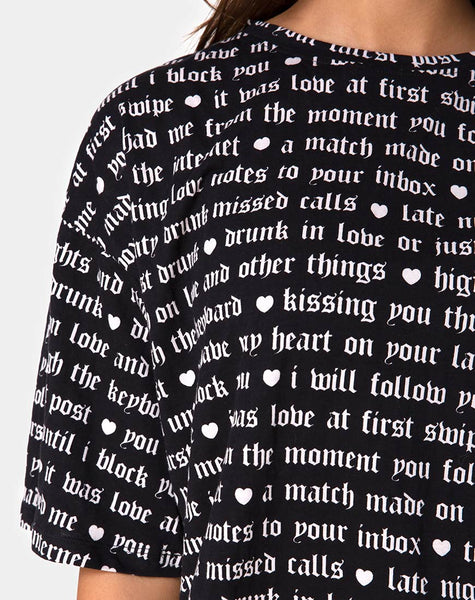 Sunny Kiss Tee in Black with Love At First Swipe Print by Motel