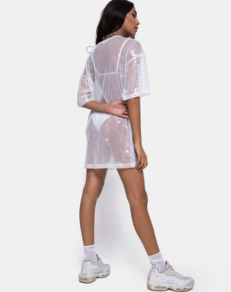 Sunny Kiss Tee in Sheer White Clear Sequin by Motel