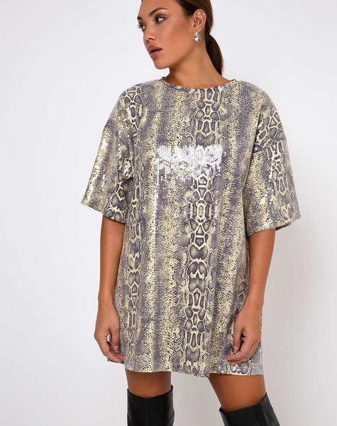 Sunny Kiss Tee in Acid Snake Clear Sequin by Motel