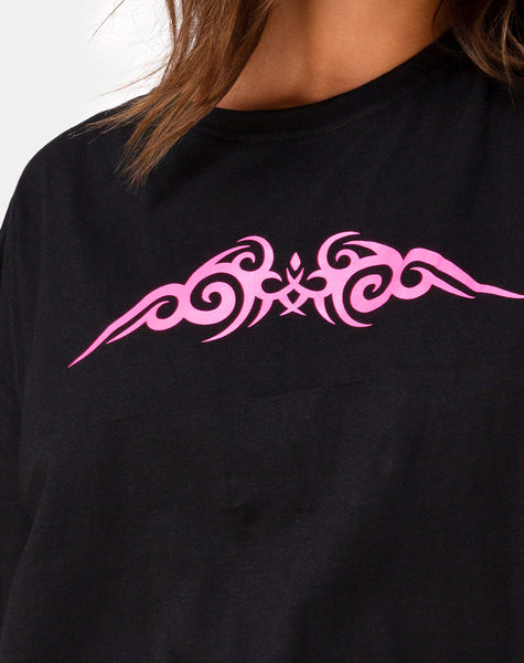 Sunny Kiss Oversize Tee in Black with Pink Tribal by Motel