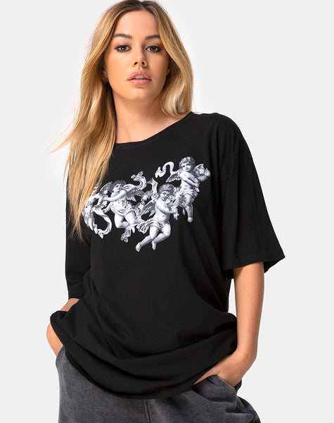 Sunny Kiss Tee in Black with Cherub by Motel
