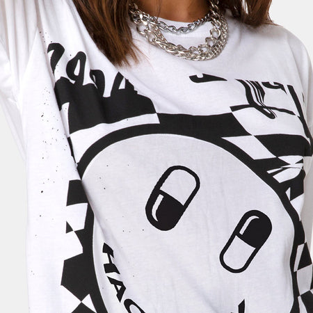 Sunny Kiss Tee in White with Black Dream Scape by Motel