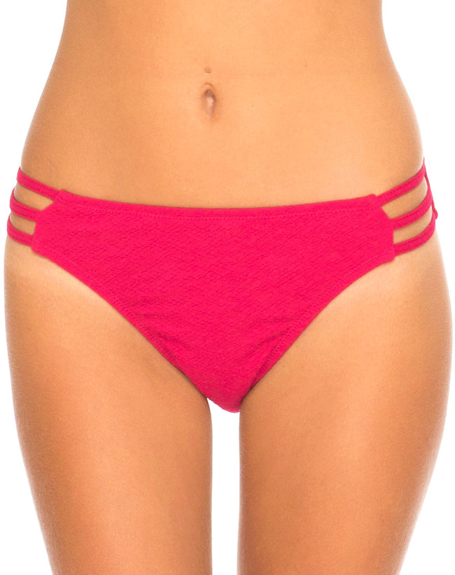 Motel Sunstone Strappy Bikini Bottom in Raspberry