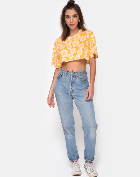 Super Crop Tee in Sunkissed Floral Yellow by Motel